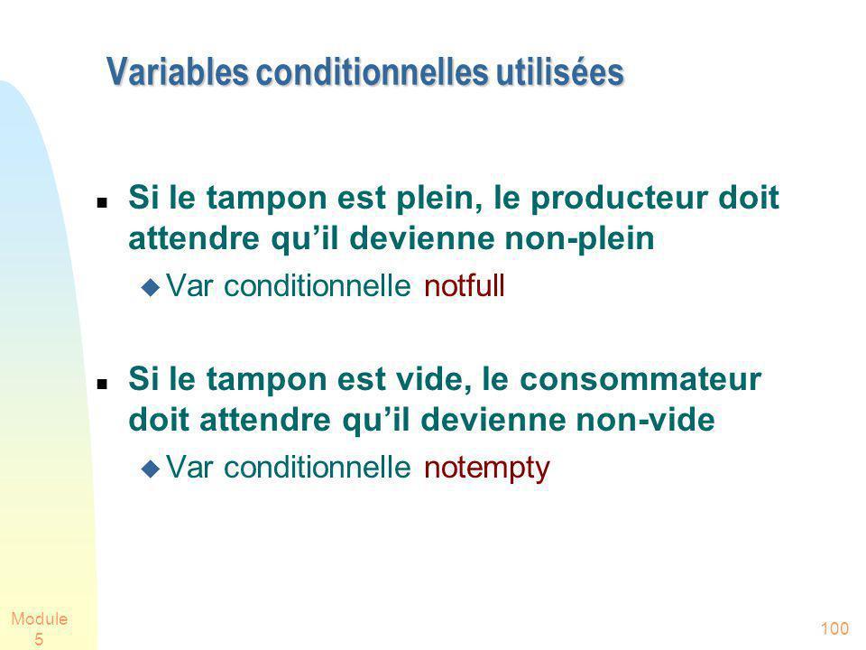 Module 5 100 Variables conditionnelles utilisées Si le tampon est plein, le producteur doit attendre quil devienne non-plein Var conditionnelle notfull Si le tampon est vide, le consommateur doit attendre quil devienne non-vide Var conditionnelle notempty