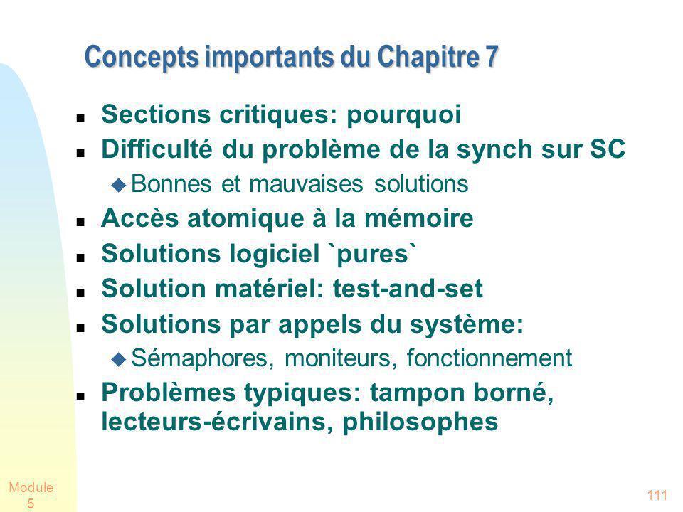 Module 5 111 Concepts importants du Chapitre 7 Sections critiques: pourquoi Difficulté du problème de la synch sur SC Bonnes et mauvaises solutions Ac