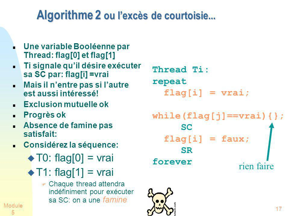 Module 5 17 Algorithme 2 ou lexcès de courtoisie... Une variable Booléenne par Thread: flag[0] et flag[1] Ti signale quil désire exécuter sa SC par: f