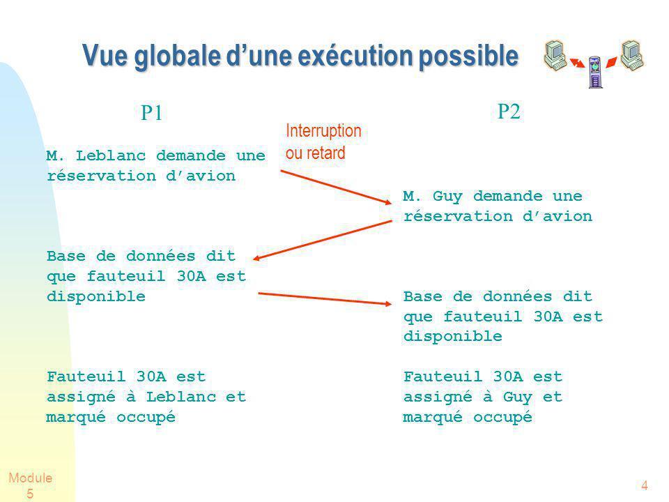 Module 5 4 Vue globale dune exécution possible M. Guy demande une réservation davion Base de données dit que fauteuil 30A est disponible Fauteuil 30A