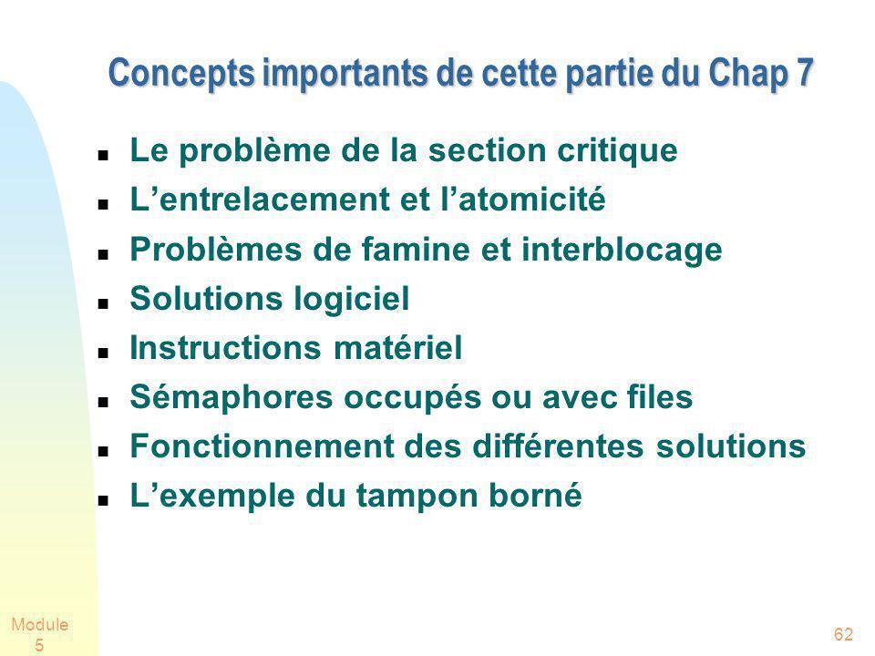 Module 5 62 Concepts importants de cette partie du Chap 7 Le problème de la section critique Lentrelacement et latomicité Problèmes de famine et inter