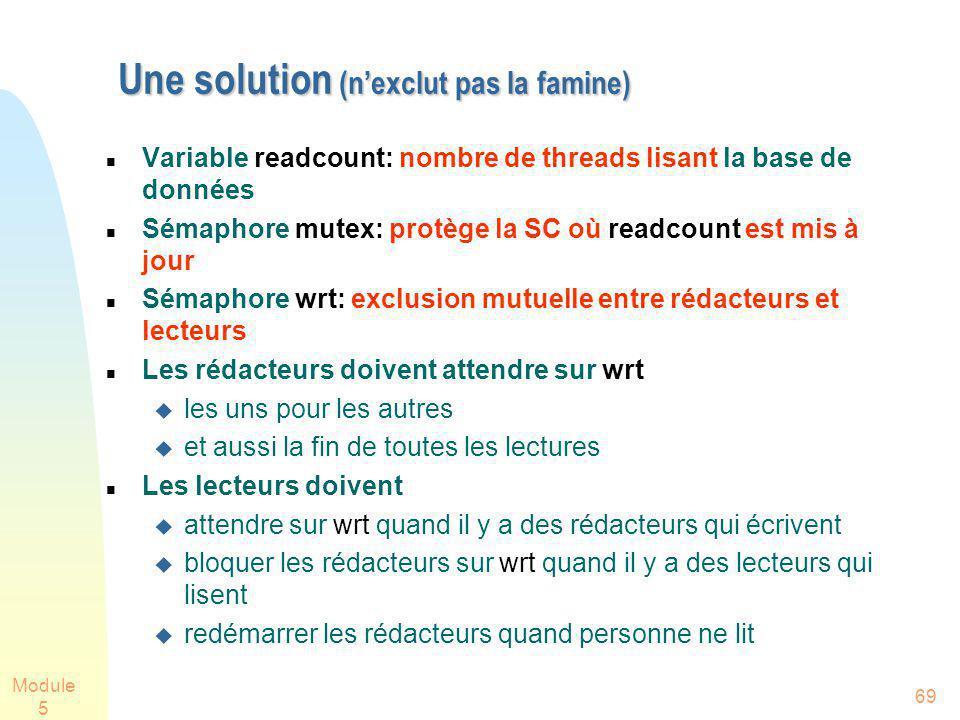 Module 5 69 Une solution (nexclut pas la famine) Une solution (nexclut pas la famine) Variable readcount: nombre de threads lisant la base de données