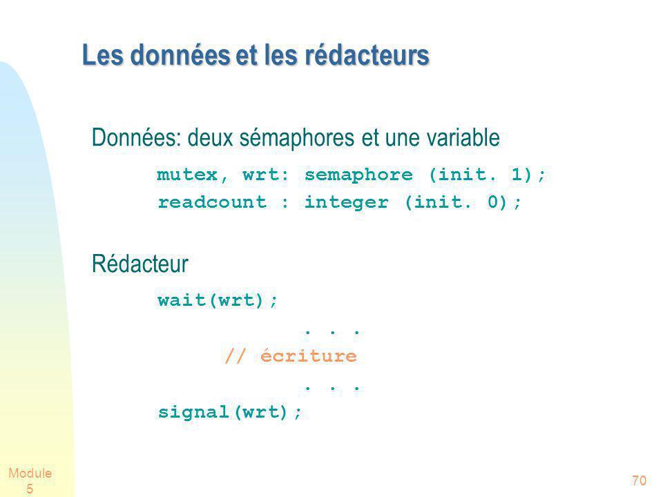 Module 5 70 Les données et les rédacteurs Données: deux sémaphores et une variable mutex, wrt: semaphore (init. 1); readcount : integer (init. 0); Réd