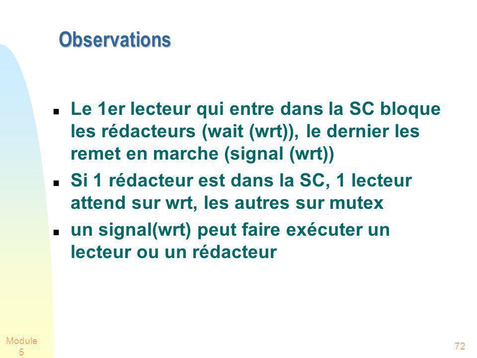 Module 5 72 Observations Le 1er lecteur qui entre dans la SC bloque les rédacteurs (wait (wrt)), le dernier les remet en marche (signal (wrt)) Si 1 rédacteur est dans la SC, 1 lecteur attend sur wrt, les autres sur mutex un signal(wrt) peut faire exécuter un lecteur ou un rédacteur