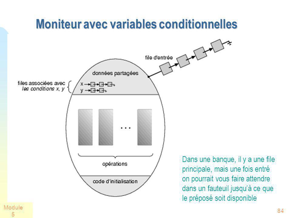 Module 5 84 Moniteur avec variables conditionnelles Dans une banque, il y a une file principale, mais une fois entré on pourrait vous faire attendre d