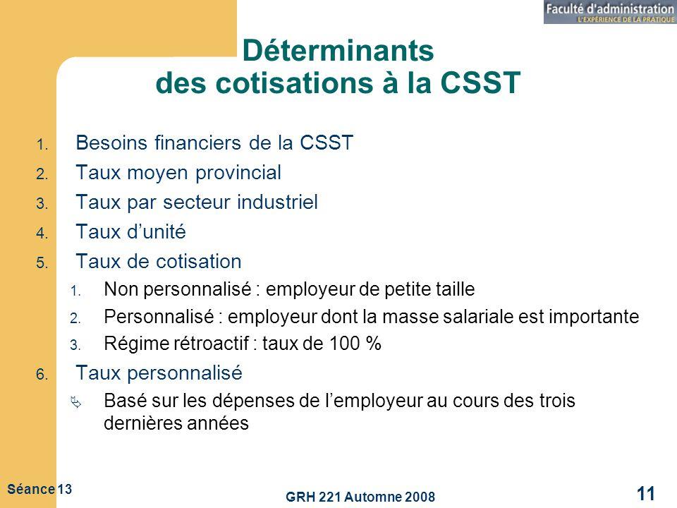 GRH 221 Automne 2008 11 Séance 13 Déterminants des cotisations à la CSST 1. Besoins financiers de la CSST 2. Taux moyen provincial 3. Taux par secteur