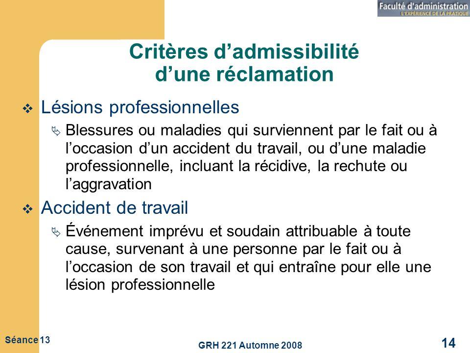 GRH 221 Automne 2008 14 Séance 13 Critères dadmissibilité dune réclamation Lésions professionnelles Blessures ou maladies qui surviennent par le fait