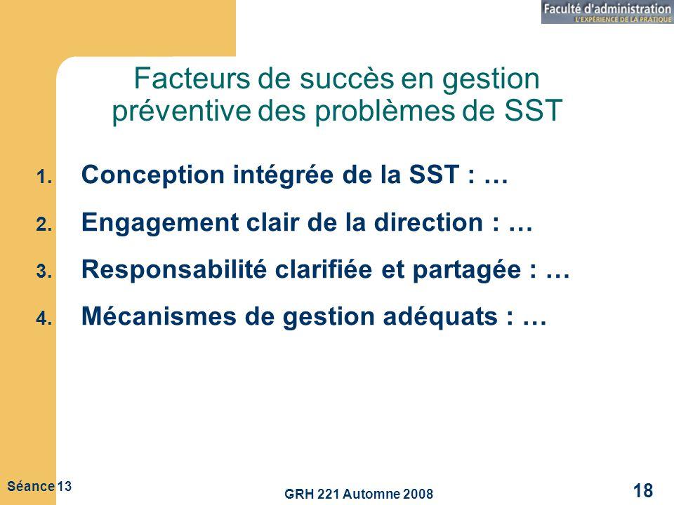 GRH 221 Automne 2008 18 Séance 13 Facteurs de succès en gestion préventive des problèmes de SST 1. Conception intégrée de la SST : … 2. Engagement cla