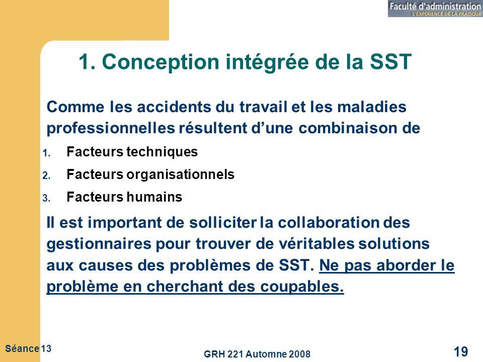 GRH 221 Automne 2008 19 Séance 13 1. Conception intégrée de la SST Comme les accidents du travail et les maladies professionnelles résultent dune comb