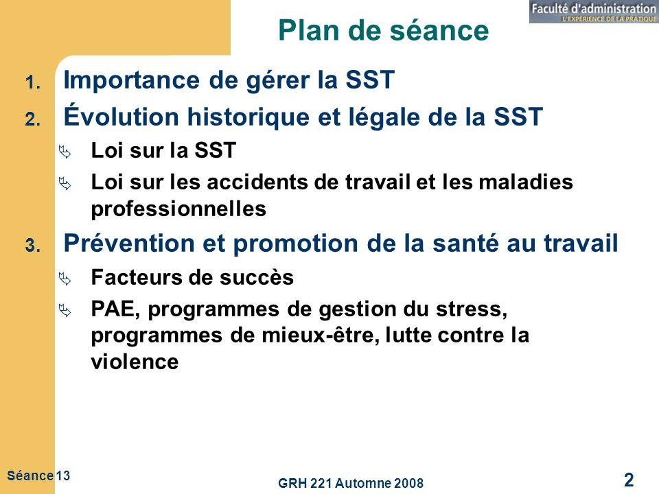GRH 221 Automne 2008 3 Séance 13 Importance de gérer la santé et la sécurité au travail (SST) Considérations Humanitaires Légales Financières Amélioration du climat de travail et des relations patronales-syndicales