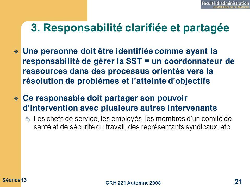 GRH 221 Automne 2008 21 Séance 13 3. Responsabilité clarifiée et partagée Une personne doit être identifiée comme ayant la responsabilité de gérer la