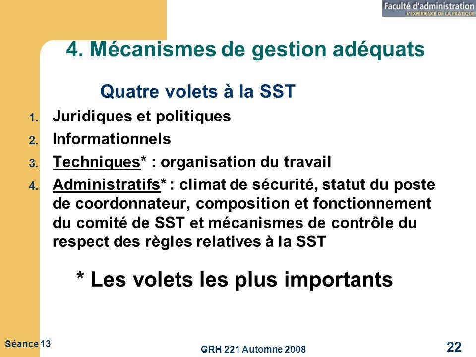 GRH 221 Automne 2008 22 Séance 13 4. Mécanismes de gestion adéquats Quatre volets à la SST 1. Juridiques et politiques 2. Informationnels 3. Technique