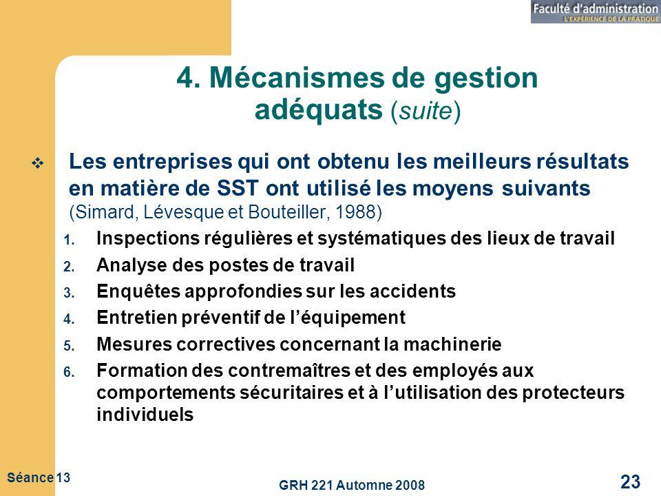 GRH 221 Automne 2008 23 Séance 13 4. Mécanismes de gestion adéquats (suite) Les entreprises qui ont obtenu les meilleurs résultats en matière de SST o