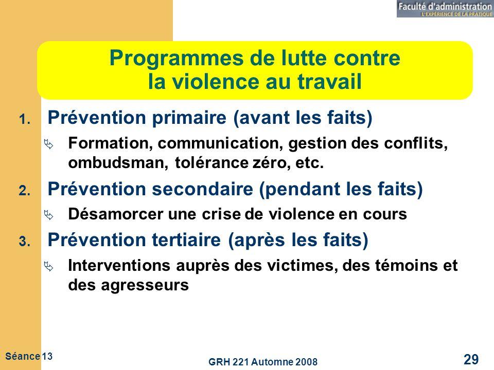 GRH 221 Automne 2008 29 Séance 13 Programmes de lutte contre la violence au travail 1. Prévention primaire (avant les faits) Formation, communication,