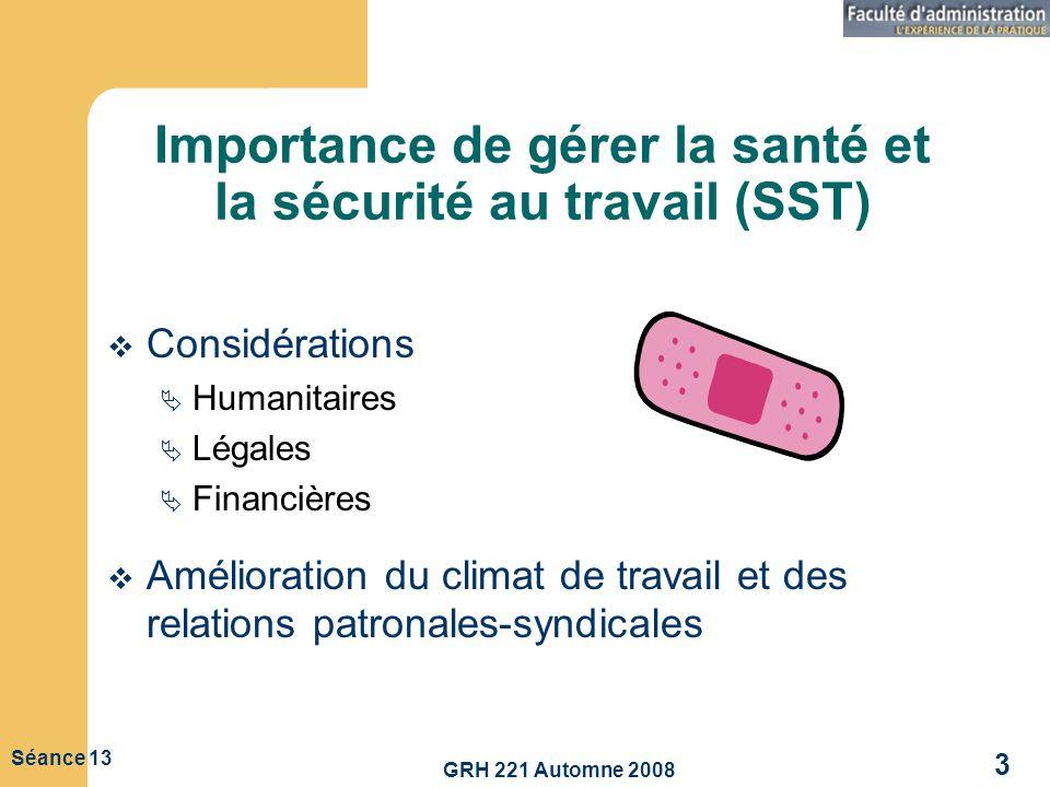 GRH 221 Automne 2008 3 Séance 13 Importance de gérer la santé et la sécurité au travail (SST) Considérations Humanitaires Légales Financières Améliora