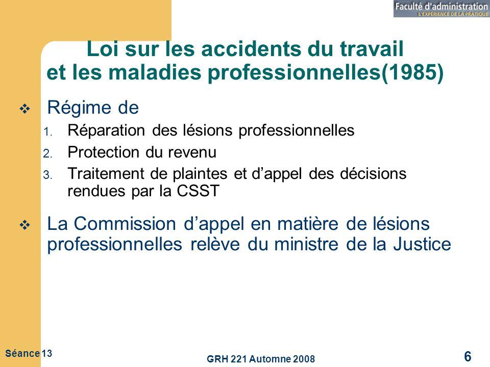 GRH 221 Automne 2008 6 Séance 13 Loi sur les accidents du travail et les maladies professionnelles(1985) Régime de 1. Réparation des lésions professio