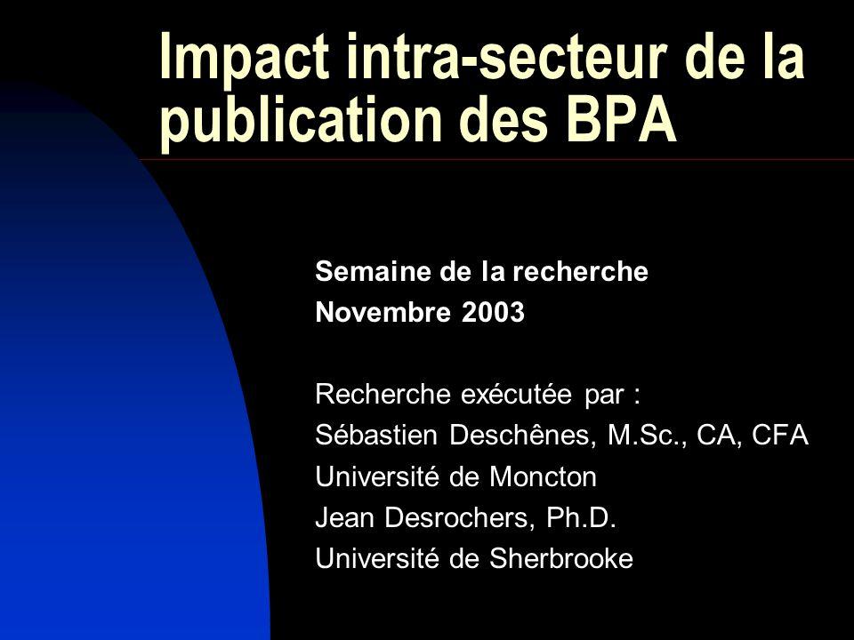 Impact intra-secteur de la publication des BPA Semaine de la recherche Novembre 2003 Recherche exécutée par : Sébastien Deschênes, M.Sc., CA, CFA Université de Moncton Jean Desrochers, Ph.D.