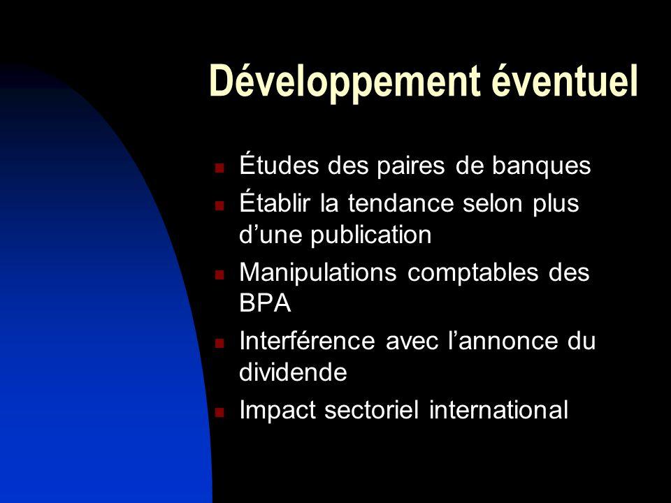 Développement éventuel Études des paires de banques Établir la tendance selon plus dune publication Manipulations comptables des BPA Interférence avec lannonce du dividende Impact sectoriel international