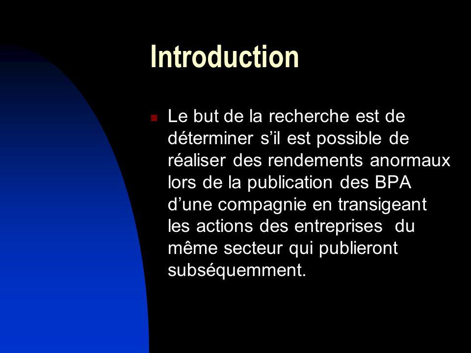Introduction Le but de la recherche est de déterminer sil est possible de réaliser des rendements anormaux lors de la publication des BPA dune compagnie en transigeant les actions des entreprises du même secteur qui publieront subséquemment.