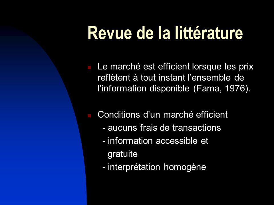 Revue de la littérature Le marché est efficient lorsque les prix reflètent à tout instant lensemble de linformation disponible (Fama, 1976).