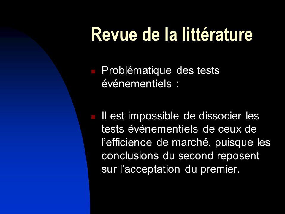 Revue de la littérature Problématique des tests événementiels : Il est impossible de dissocier les tests événementiels de ceux de lefficience de marché, puisque les conclusions du second reposent sur lacceptation du premier.