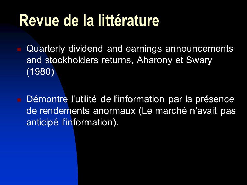Revue de la littérature Quarterly dividend and earnings announcements and stockholders returns, Aharony et Swary (1980) Démontre lutilité de linformation par la présence de rendements anormaux (Le marché navait pas anticipé linformation).
