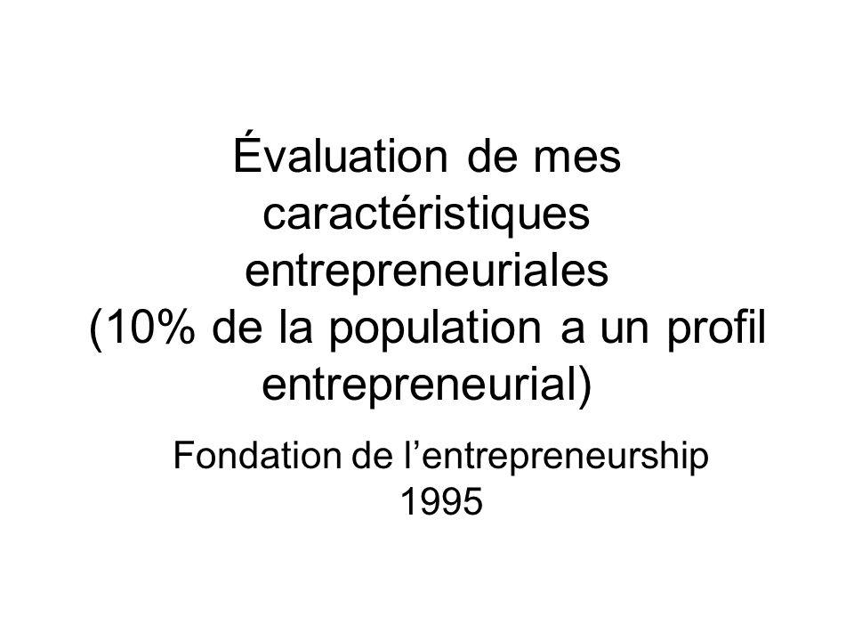 Évaluation de mes caractéristiques entrepreneuriales (10% de la population a un profil entrepreneurial) Fondation de lentrepreneurship 1995