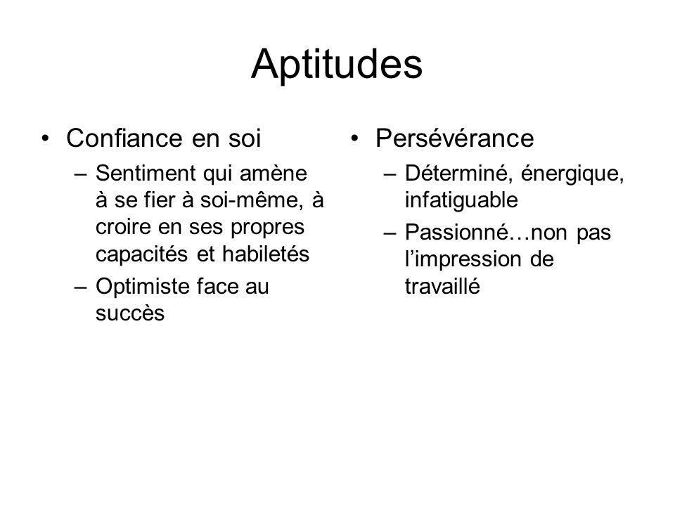 Aptitudes Confiance en soi –Sentiment qui amène à se fier à soi-même, à croire en ses propres capacités et habiletés –Optimiste face au succès Persévé