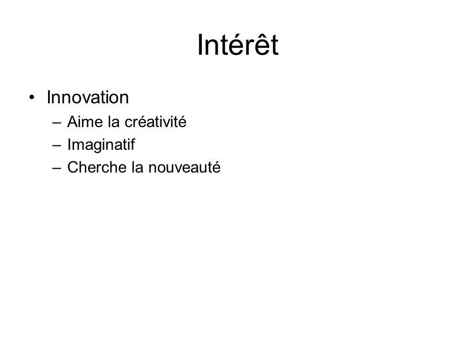 Intérêt Innovation –Aime la créativité –Imaginatif –Cherche la nouveauté