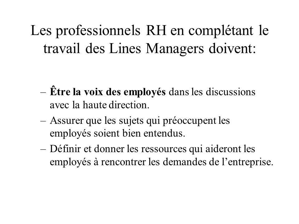Les professionnels RH en complétant le travail des Lines Managers doivent: –Être la voix des employés dans les discussions avec la haute direction. –A