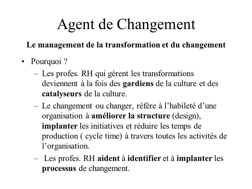Agent de Changement Le management de la transformation et du changement Pourquoi ? –Les profes. RH qui gèrent les transformations deviennent à la fois