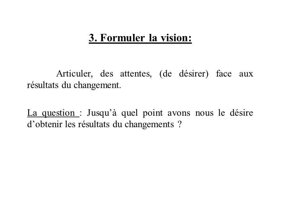 3. Formuler la vision: Articuler, des attentes, (de désirer) face aux résultats du changement. La question : Jusquà quel point avons nous le désire do