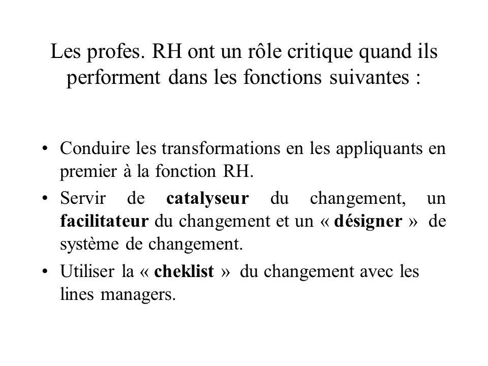 Les profes. RH ont un rôle critique quand ils performent dans les fonctions suivantes : Conduire les transformations en les appliquants en premier à l
