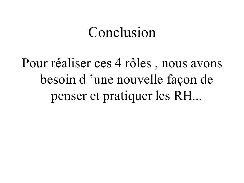 Conclusion Pour réaliser ces 4 rôles, nous avons besoin d une nouvelle façon de penser et pratiquer les RH...