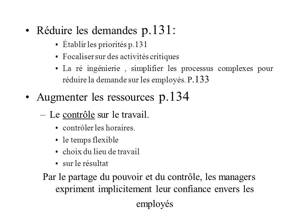 Réduire les demandes p.131: Établir les priorités p.131 Focaliser sur des activités critiques La ré ingénierie, simplifier les processus complexes pou