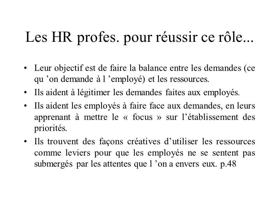 Les HR profes. pour réussir ce rôle... Leur objectif est de faire la balance entre les demandes (ce qu on demande à l employé) et les ressources. Ils