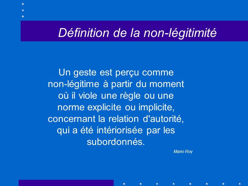 Définition de la non-légitimité Un geste est perçu comme non-légitime à partir du moment où il viole une règle ou une norme explicite ou implicite, concernant la relation d autorité, qui a été intériorisée par les subordonnés.