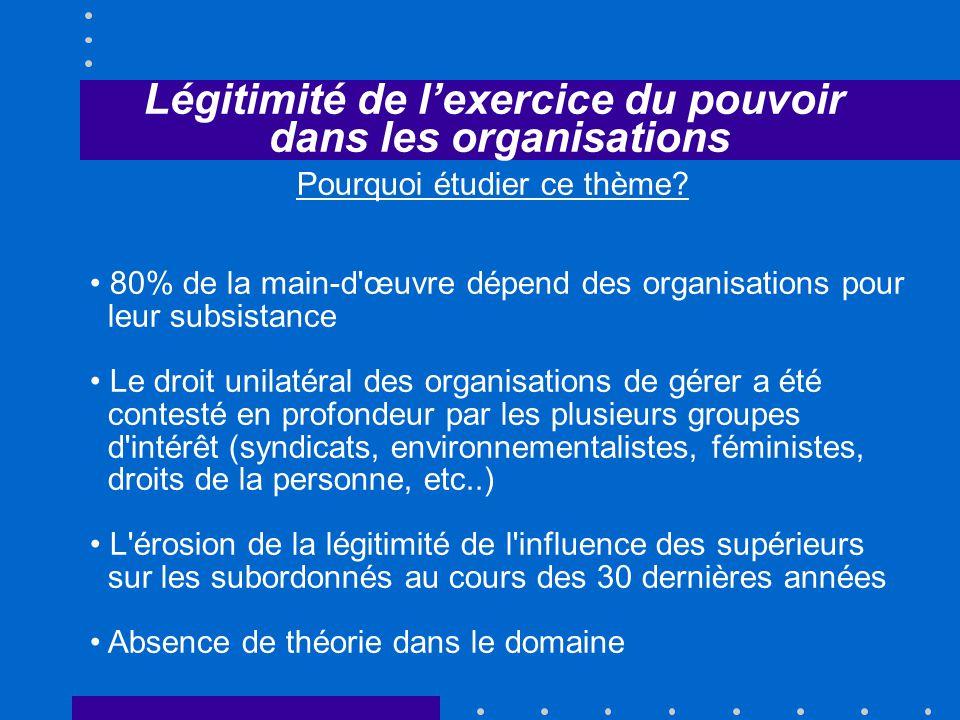 Légitimité de lexercice du pouvoir dans les organisations Pourquoi étudier ce thème.