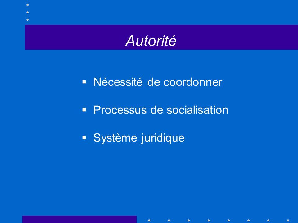 Autorité Nécessité de coordonner Processus de socialisation Système juridique