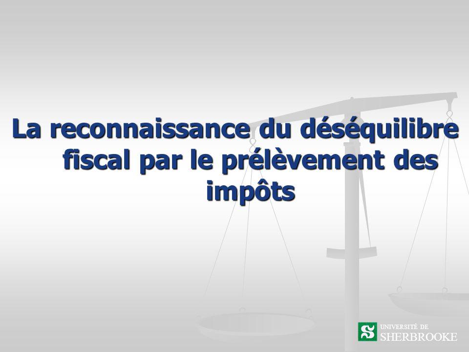La reconnaissance du déséquilibre fiscal par le prélèvement des impôts SHERBROOKE UNIVERSITÉ DE
