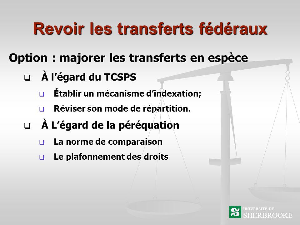 Revoir les transferts fédéraux Option : majorer les transferts en espèce À légard du TCSPS À légard du TCSPS Établir un mécanisme dindexation; Établir un mécanisme dindexation; Réviser son mode de répartition.