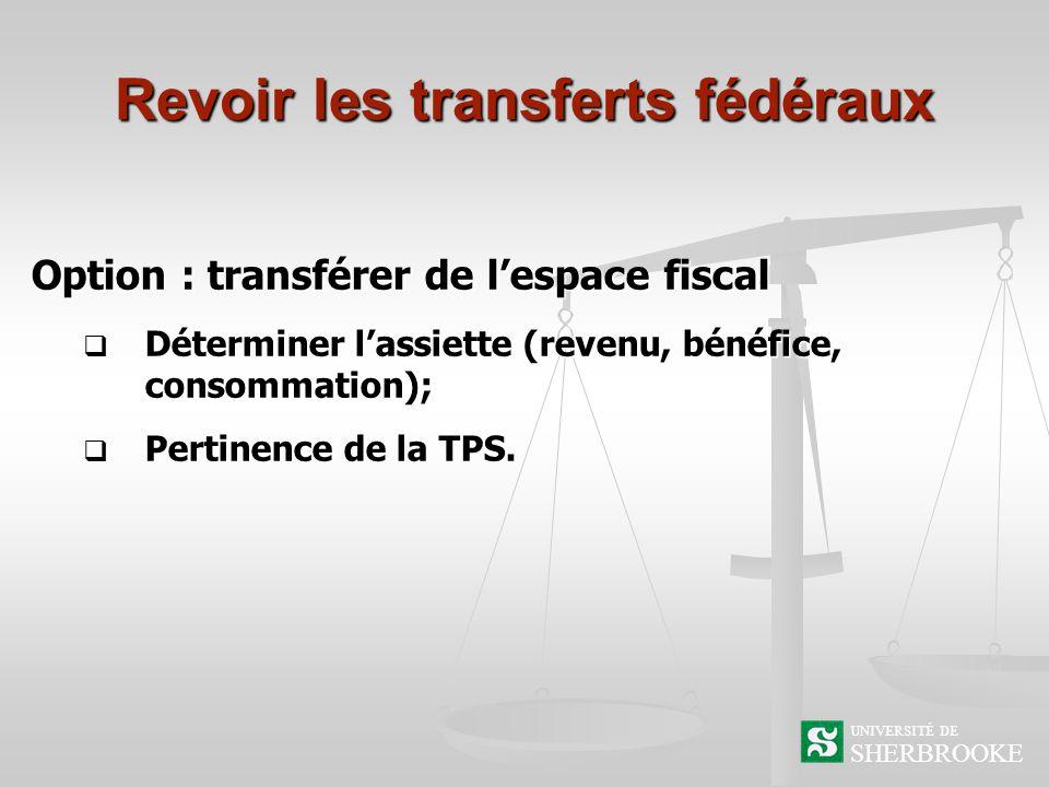 Revoir les transferts fédéraux Option : transférer de lespace fiscal Déterminer lassiette (revenu, bénéfice, consommation); Déterminer lassiette (revenu, bénéfice, consommation); Pertinence de la TPS.