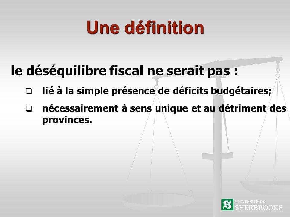 Une définition le déséquilibre fiscal ne serait pas : lié à la simple présence de déficits budgétaires; lié à la simple présence de déficits budgétaires; nécessairement à sens unique et au détriment des provinces.