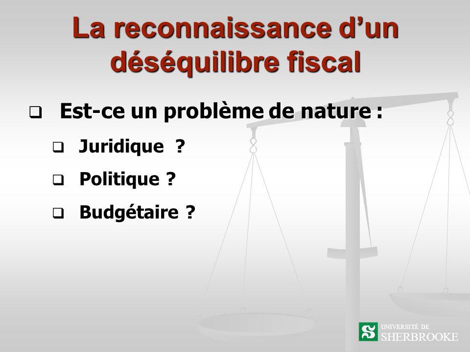 La reconnaissance dun déséquilibre fiscal Est-ce un problème de nature : Est-ce un problème de nature : Juridique .