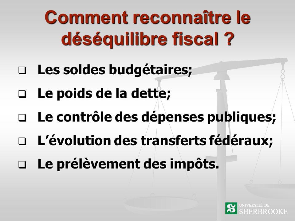 SHERBROOKE UNIVERSITÉ DE La reconnaissance du déséquilibre fiscal par les dépenses publiques