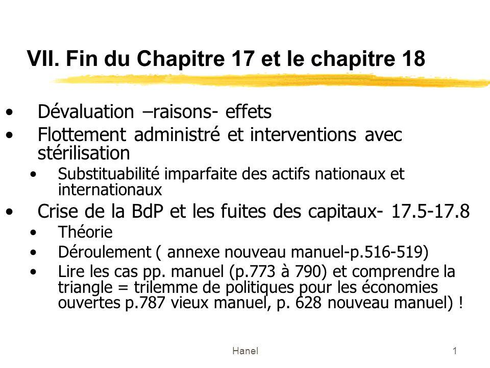 Hanel1 VII. Fin du Chapitre 17 et le chapitre 18 Dévaluation –raisons- effets Flottement administré et interventions avec stérilisation Substituabilit