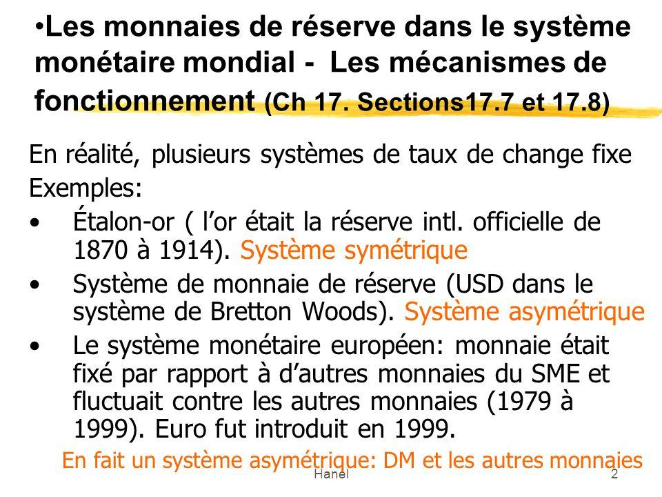 Hanel2 Les monnaies de réserve dans le système monétaire mondial - Les mécanismes de fonctionnement (Ch 17. Sections17.7 et 17.8) En réalité, plusieur
