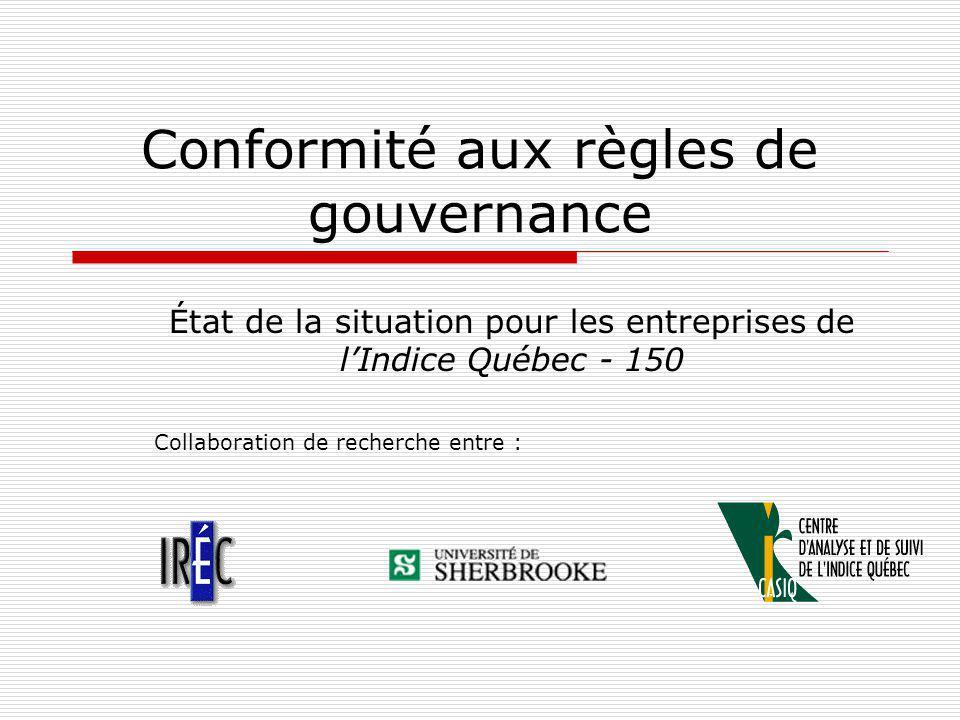 Conformité aux règles de gouvernance État de la situation pour les entreprises de lIndice Québec - 150 Collaboration de recherche entre :