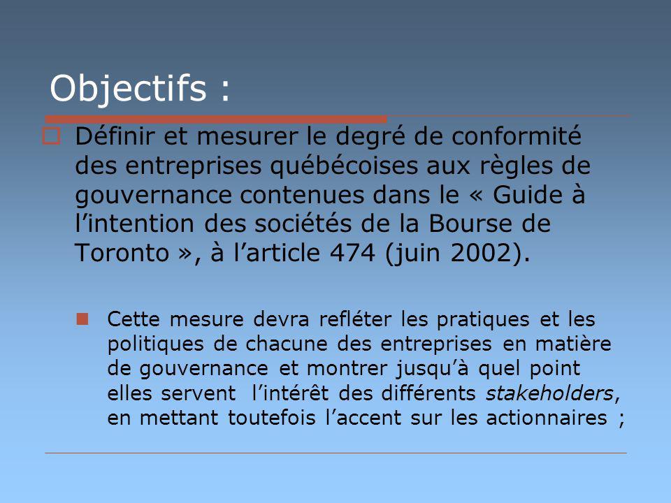 Objectifs : Définir et mesurer le degré de conformité des entreprises québécoises aux règles de gouvernance contenues dans le « Guide à lintention des sociétés de la Bourse de Toronto », à larticle 474 (juin 2002).