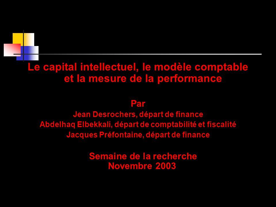 Le capital intellectuel, le modèle comptable et la mesure de la performance Par Jean Desrochers, départ de finance Abdelhaq Elbekkali, départ de compt